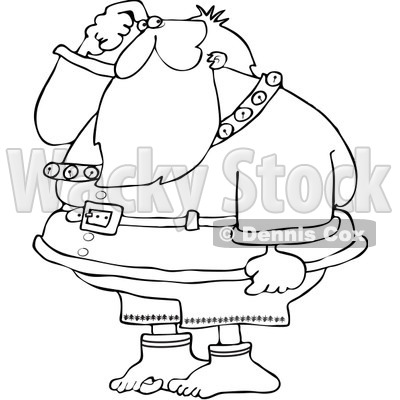 Clipart Outlined Santa Wondering Where His Pants Are - Royalty Free Vector Illustration © djart #1084440