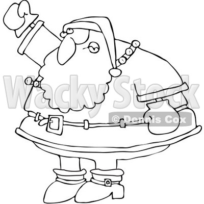 Clipart Outlined Santa Waving His Fist In The Air - Royalty Free Vector Illustration © djart #1084441