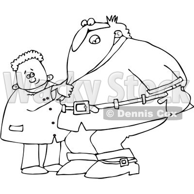 Clipart Outlined Boy Pulling Santas Beard - Royalty Free Vector Illustration © djart #1087100