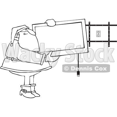 Clipart Outlined Santa Installing A Wall Mount Tv - Royalty Free Vector Illustration © djart #1087101