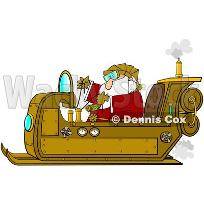 Clipart Steampunk Santa In His Sleigh - Royalty Free Illustration © djart #1087103