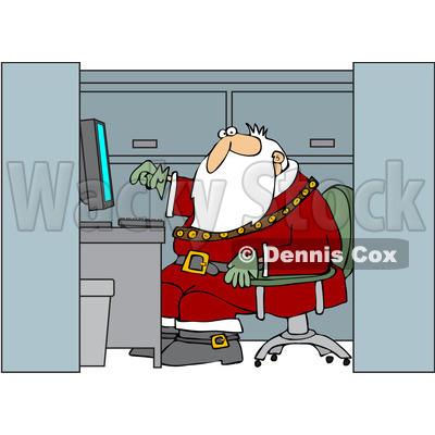 Clipart Santa Working In An Office Cubicle - Royalty Free Vector Illustration © djart #1087453