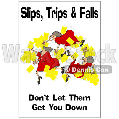 Clipart Woman Slipping With A Safety Warning - Royalty Free Illustration © djart #1087732