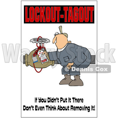 Clipart Electrician With A Safety Warning - Royalty Free Illustration © djart #1087734