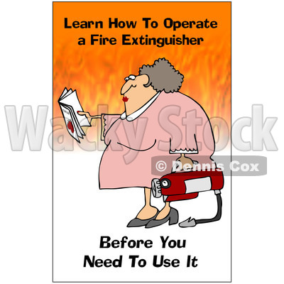 Clipart Woman Holding A Fire Extinguisher With A Safety Warning - Royalty Free Illustration © djart #1087737