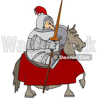 Clipart Jousting Knight Holding His Lance On His Horse - Royalty Free Vector Illustration © djart #1088031