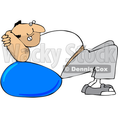 Clipart Chubby Hairy White Man Exercising On A Ball - Royalty Free Vector Illustration © djart #1088033
