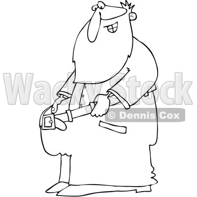 Clipart Outlined Fit Santa Holding Out His Big Pants After Losing Weight - Royalty Free Vector Illustration © djart #1088038