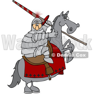 Clipart Medieval Jousting Knight Holding A Lance On A Rearing Horse - Royalty Free Vector Illustration © djart #1088323