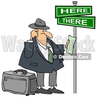 Clipart Lost Tourist Man Holding Directions Under Street Signs - Royalty Free Illustration  © djart #1089367