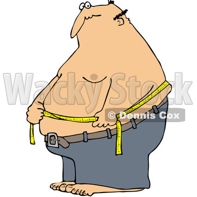 Clipart Caucasian Man Measuring His Belly Fat - Royalty Free Vector Illustration © djart #1089372