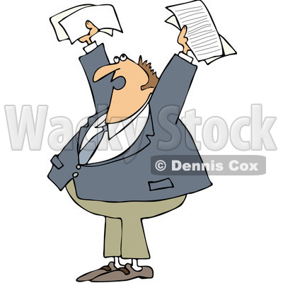 Clipart Business Man Holding Up Documents And Shouting - Royalty Free Vector Illustration © djart #1089374
