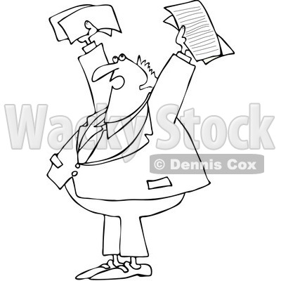 Clipart Outlined Business Man Holding Up Documents And Shouting - Royalty Free Vector Illustration © djart #1089375