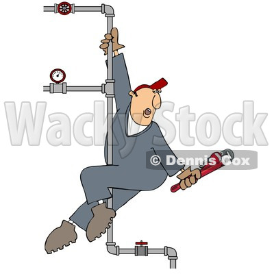 Clipart Male Plumber Playing On A Vertical Pole Of Pipes - Royalty Free Illustration © djart #1090026