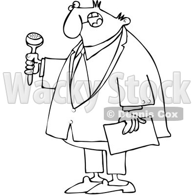 Clipart Outlined Ceremony MC Holding A Microphone And Paper - Royalty Free Vector Illustration © djart #1090530