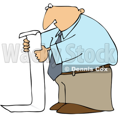 Clipart Business Man Reading A Long To Do List - Royalty Free Vector Illustration © Dennis Cox #1091966