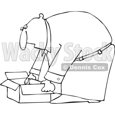Clipart Outlined Businessman Bending Over To Pick Up An Open Box - Royalty Free Vector Illustration © djart #1091969
