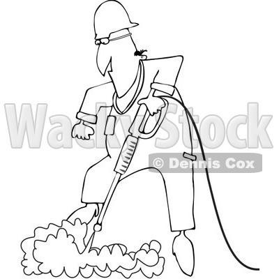 Clipart Outlined Worker Pressure Washing The Ground - Royalty Free Vector Illustration © djart #1091971