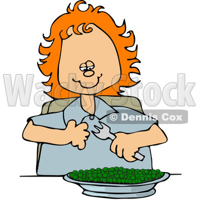 Clipart Happy Red Haired Girl Eating A Bowl Of Peas - Royalty Free Vector Illustration © djart #1091973