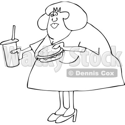 Clipart Outlined Overweight Woman Carrying A Soda And Hamburger - Royalty Free Vector Illustration © djart #1093119