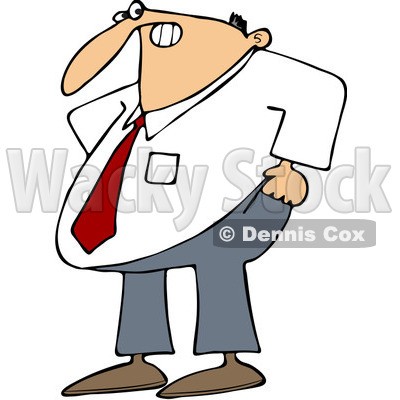 Clipart Frustrated Businessman Trying To Pull His Pants Up Over His Belly - Royalty Free Vector Illustration © djart #1093121