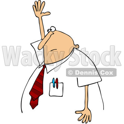 Clipart Chubby Businessman Raising His Hand To Ask A Question - Royalty Free Vector Illustration © djart #1093122