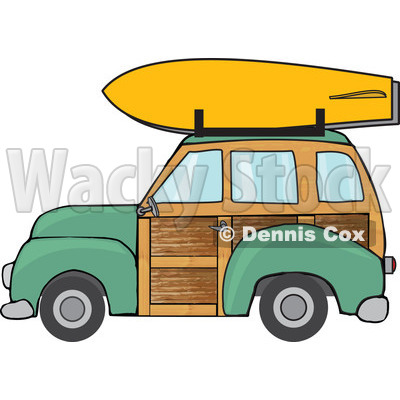 Clipart Green Woodie Station Wagon With A Surfboard On Top - Royalty Free Vector Illustration © Dennis Cox #1095768