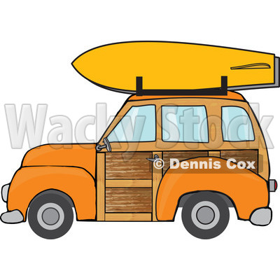 Clipart Orange Woodie Station Wagon With A Surfboard On Top - Royalty Free Vector Illustration © djart #1095770