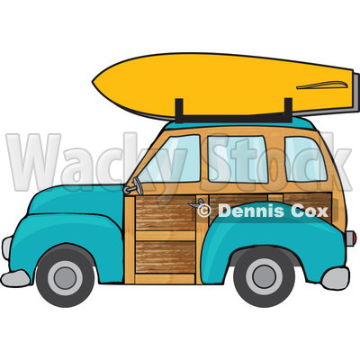 Clipart Turquoise Woodie Station Wagon With A Surfboard On Top - Royalty Free Vector Illustration © djart #1095774