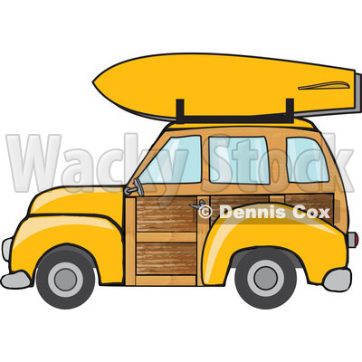 Clipart Yellow Woodie Station Wagon With A Surfboard On Top - Royalty Free Vector Illustration © djart #1095775
