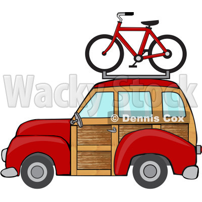 Clipart Red Woodie Station Wagon With A Bicycle On Top - Royalty Free Vector Illustration © djart #1097239