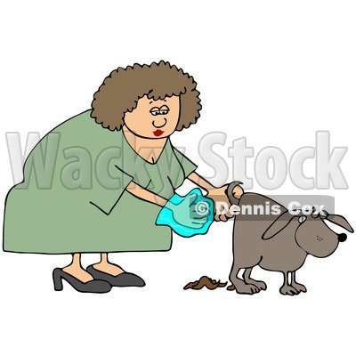 Clipart Woman Holding A Bag And Picking Up Dog Poop - Royalty Free Illustration © djart #1098904