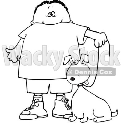 Clipart Outlined Boy Walking His Dog On A Leash - Royalty Free Vector Illustration © djart #1100029