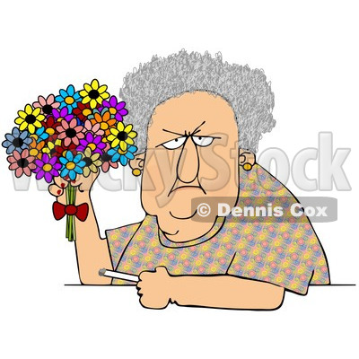 Clipart Grumpy Old Woman Holding A Bouquet Of Daisies And A Cigarette - Royalty Free Vector Illustration © djart #1101599