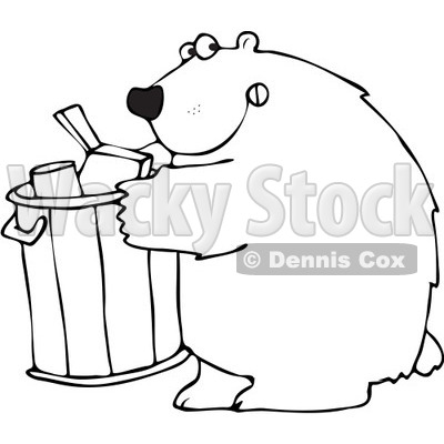 Clipart Outlined Bear Getting Into A Garbage Can - Royalty Free Vector Illustration © djart #1101692