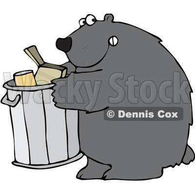 Clipart Bear Getting Into A Garbage Can - Royalty Free Vector Illustration © djart #1101695