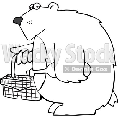 Clipart Outlined Bear Carrying A Picnic Basket And Wine - Royalty Free Vector Illustration © djart #1103611