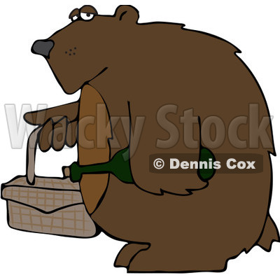 Clipart Bear Carrying A Picnic Basket And Wine - Royalty Free Vector Illustration © djart #1103613