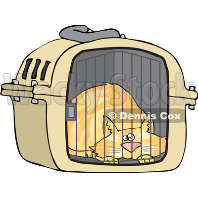 Clipart Scared Orange Cat In A Pet Carrier - Royalty Free Vector Illustration © djart #1103614