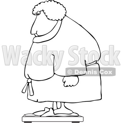 Clipart Outlined Chubby Woman In A Robe Standing On A Scale - Royalty Free Vector Illustration © djart #1104852