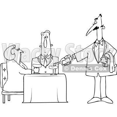 Clipart Outlined Waiter Serving Wine To A Couple At A Restaurant - Royalty Free Vector Illustration © djart #1105044