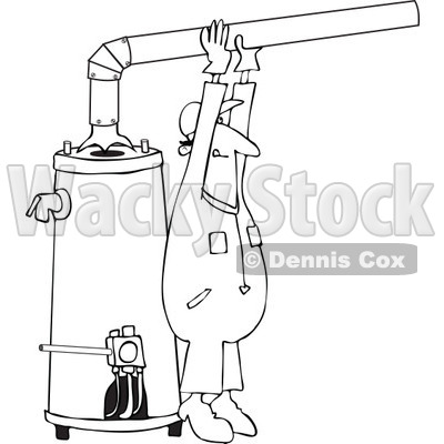 Clipart Outlined Man Installing A Hot Water Heater - Royalty Free Vector Illustration © djart #1105906