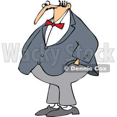 Clipart Chubby Man Wearing A Bowtie And Standing With His Hands In His Pockets - Royalty Free Vector Illustration © djart #1107615
