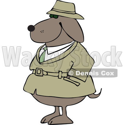 Clipart Investigator Dog In A Trench Coat With His Paws In His Pocket- Royalty Free Vector Illustration © djart #1109309