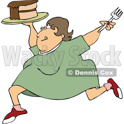 Clipart Cartoon Happy Fat Woman Running With Cake - Royalty Free Vector Illustration © djart #1109829