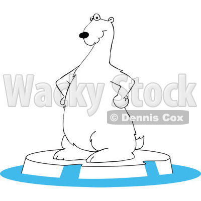 Clipart Cartoon Polar Bear Standing On An Ice Berg - Royalty Free Vector Illustration © djart #1109830
