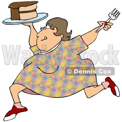 Clipart Cartoon Happy Obese Woman Running With Cake