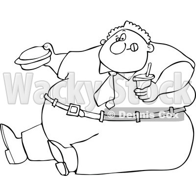 Clipart Outlined Cartoon Unhealthy Obese Man Eating A Hamburger And Holding A Soda - Royalty Free Vector Illustration © djart #1110163