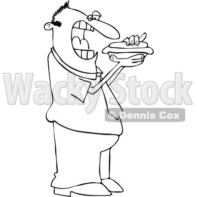 Clipart Outlined Cartoon Man Eating A Hot Dog - Royalty Free Vector Illustration © djart #1110166