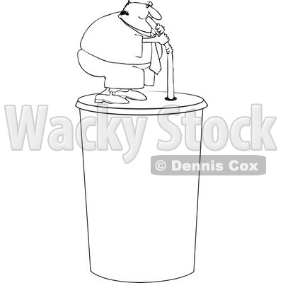 Clipart Outlined Chubby Man Drinking From A Straw On A Giant Fountain Soda - Royalty Free Vector Illustration © djart #1110846
